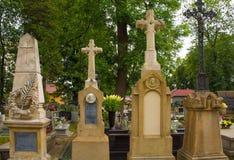 Cmentarz Mogilski Cemetery. Nowa Huta, Poland - July 9th 2018. The historic Cmentarz Mogilski Cemetery in Nowa Huta, Krakow stock image