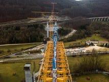 Nowa kolejowa bridżowa budowa - Stuttgart 21, Aichelberg zdjęcia stock