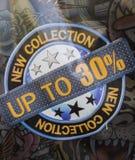 Nowa kolekcja up to 30 procentów rabatów Fotografia Royalty Free