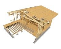 Nowa mieszkaniowej budowy domu drewna otoczka Zdjęcia Stock