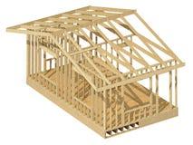 Nowa mieszkaniowej budowy domu drewna otoczka Obrazy Royalty Free