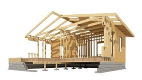 Nowa mieszkaniowej budowy domu drewna otoczka Obraz Royalty Free