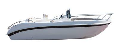 Nowa motorowa łódź motorowa. Odizolowywający nad bielem zdjęcie stock
