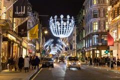 Nowa Niewolna ulica w Londyn przy bożymi narodzeniami Zdjęcia Royalty Free