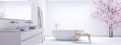 Nowa nowożytna zen łazienka z biel ścianą świadczenia 3 d obrazy royalty free