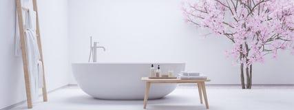 Nowa nowożytna zen łazienka z biel ścianą świadczenia 3 d fotografia stock