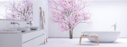 Nowa nowożytna zen łazienka z biel ścianą świadczenia 3 d zdjęcie royalty free