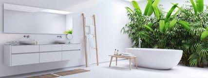 Nowa nowożytna zen łazienka z zwrotnik roślinami świadczenia 3 d fotografia royalty free