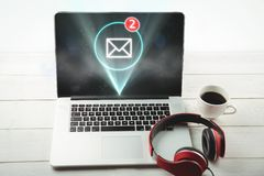 Nowa poczta na laptopu ekranie Obraz Royalty Free