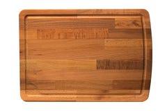 Nowa prostokątna drewniana tnąca deska, odgórny widok, odizolowywający - wizerunek obrazy royalty free