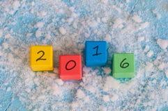 Nowa 2016 rok drewna liczba na kolorów drewnianych sześcianach Zdjęcia Royalty Free