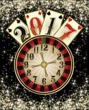 Nowa 2017 rok kasynowa tapeta z grzebak kartami Zdjęcia Royalty Free