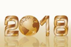 Nowa 2018 rok złota karta, wektor Fotografia Stock