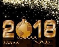 Nowa 2018 rok złota tapeta, wektor Obrazy Royalty Free