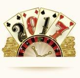 Nowa 2017 rok zaproszenia kasynowa karta z grzebaków elementami Zdjęcia Stock