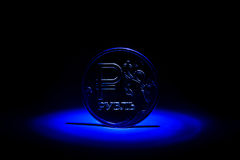 Nowa rosjanin moneta - jeden rubel Obrazy Royalty Free