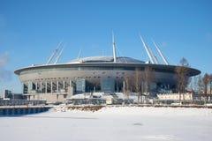 Nowa stadionu futbolowego Zenitu arena, słoneczny dzień w Luty Petersburg Zdjęcia Stock