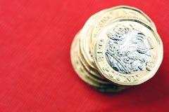 Nowa UK Jeden Funtowej monety waluta Fotografia Stock