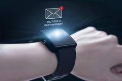 Nowa wiadomości ikona z smartwatch Obraz Royalty Free