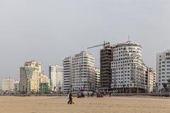 Nowa wysoka powstająca budowa w Tangier, Maroko, 2017 zdjęcia royalty free