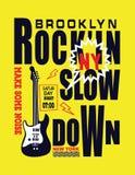 Nowa York Brooklyn typografia z muzyką royalty ilustracja