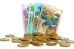 Nowa Zelandia dolara monety i banknoty Obrazy Royalty Free