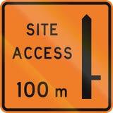 Nowa Zelandia drogowy znak - pracy miejsca dostęp 100 metres na dobrze naprzód Zdjęcie Stock