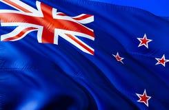 Nowa Zelandia flaga 3D falowania flaga projekt Krajowy symbol Nowa Zelandia, 3D rendering Obywatelów kolory i flaga państowowa zdjęcia stock