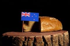 Nowa Zelandia flaga na fiszorku z chlebem fotografia royalty free