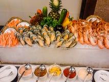 Nowa Zelandia garneli i mussels bufet w owoce morza restauraci zdjęcie royalty free