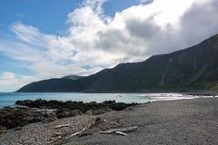 Nowa Zelandia Kamienista plaża obrazy royalty free