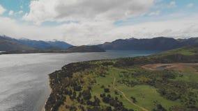 Nowa Zelandia kształtuje teren, Jeziorny Wanaka, Glendhu zatoka, truteń anteny strzały zbiory