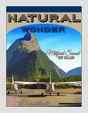 Nowa Zelandia, podróż plakat, Fiordland, Milford dźwięk Zdjęcia Stock