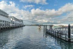 Nowa Zelandia seascape i królowej nabrzeże, W centrum Auckland zdjęcia stock