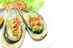 Nowa Zelandia zieleni mussels na bielu talerzu Obrazy Stock