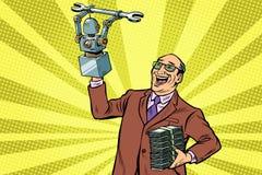Nowatora robot i inżynier Nowa technologia postęp ilustracja wektor