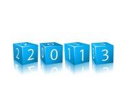 Nowe 2013 Rok Liczby na Błękitny 3d Sześcianach Zdjęcie Royalty Free