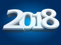 Nowe 2018 rok białe 3D postacie Zdjęcie Stock