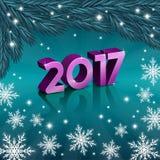 Nowe 2017 rok liczby z płatkami śniegu Zdjęcie Stock