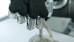 Nowe technologie wśród my Ręka robot bierze miękką zabawkę w formie myszy ogonem przysz?o?? dzisiaj zbiory wideo