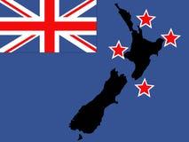 nowe Zelandii mapa bandery Fotografia Royalty Free