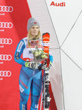 Nowegian-Skifahrer Nina Loeseth auf dem Podium Stockbild