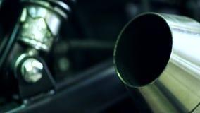 Nowego chromu wydmuchowa drymba z dymem Motocykl wydmuchowa drymba zdjęcie wideo