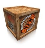 Nowego produktu znaczka znak na drewnianym pudełku Zdjęcia Royalty Free