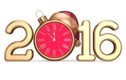 Nowego 2016 rok wigilii początku zegaru Santa kapeluszowa Bożenarodzeniowa piłka Obrazy Stock