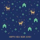 Nowego roku 2018 ściegu przecinający kartka z pozdrowieniami z psem Fotografia Stock