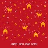 Nowego roku 2018 ściegu przecinający kartka z pozdrowieniami z psem Obrazy Royalty Free