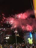 Nowego roku świętowanie w Melbourne z fajerwerkami obrazy royalty free