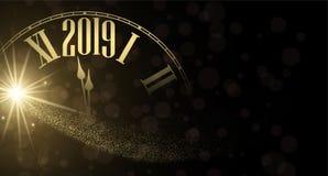 Nowego Roku 2019 błyszczący plakat z złotym zegarem ilustracja wektor