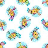 Nowego Roku bezszwowy wzór z świniami zdjęcie royalty free